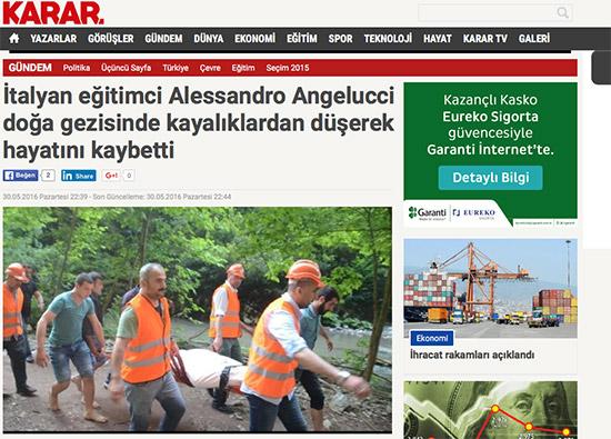 Turchia: 34enne italiano muore precipitando in un burrone