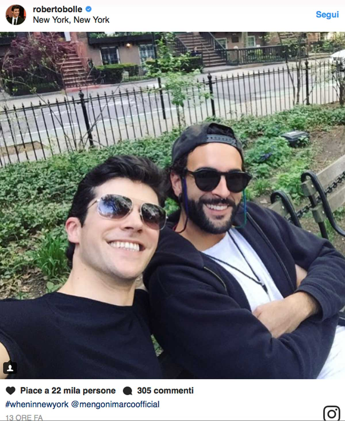 Roberto Bolle e Marco Mengoni, selfie a New York