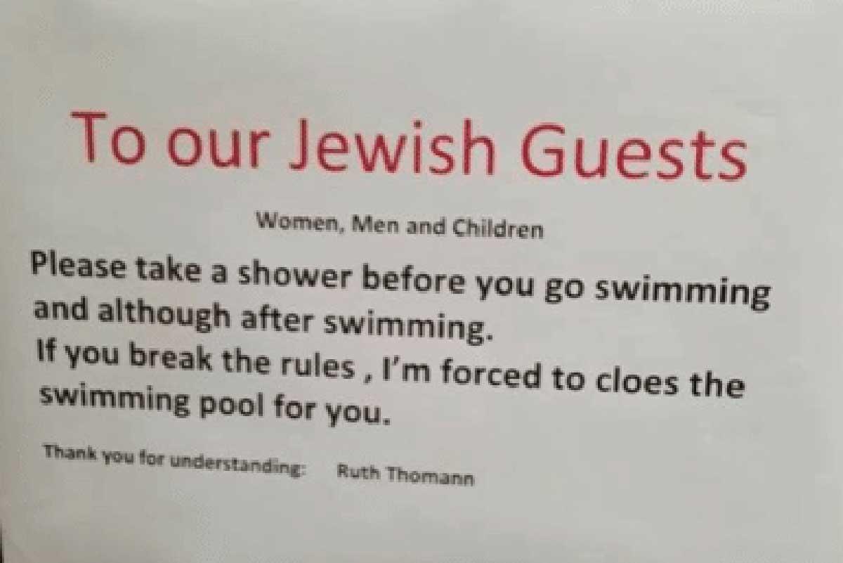 Hotel obbliga gli ebrei a farsi la doccia prima della piscina